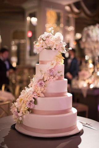 ron-ben-israel-cakes-five-layer-wedding-cake-pink-ribbon-flower-sugar-flowers-cascading-down-cake