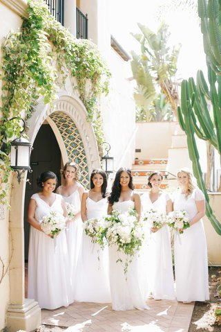 white-joanna-august-long-bridesmaid-dresses-with-mismatched-necklines