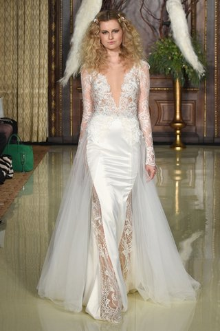 v-neck-lace-bodice-with-long-sleeves-and-satin-skirt-by-galia-lahav
