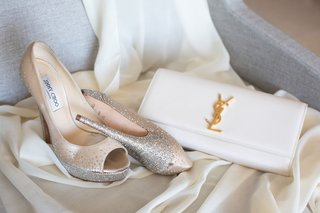wedding-accessories-jimmy-choo-peep-toe-metallic-glitter-pumps-yves-saint-laurent-ysl-white-bag