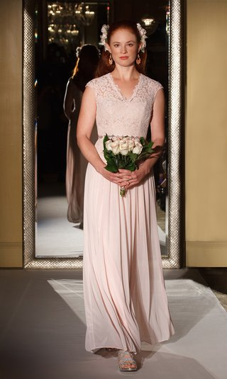 oleg-cassini-davids-bridal-bridesmaid-dress-lace-v-neck-gown-long-skirt-scallop-pink