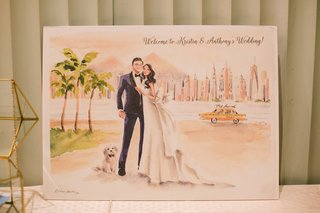 welcome-to-wedding-sign-painting-watercolor-artwork-of-bride-groom-with-dog-and-love-story