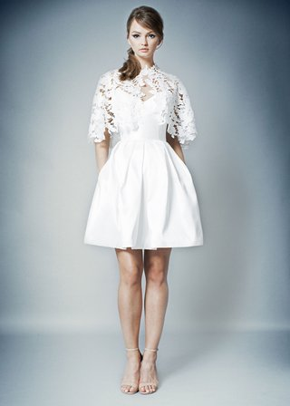 romona-by-romona-keveza-fall-2018-short-wedding-dress-cocktail-dress-capelet-lace-pockets