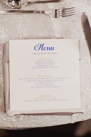 wedding-menu-card-white-stationery-square-with-blue-script-and-gold-course-lettering