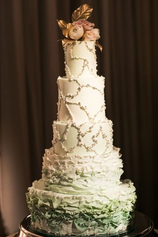 five-layer-wedding-cake-two-ruffle-layers-at-bottom-and-pearl-beaded-design-on-top-three-tiers-fresh