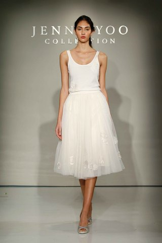 jenny-yoo-bridal-2016-two-piece-wedding-dress-with-applique-tea-length-skirt-and-scoop-neck-tank-top