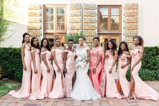 bridesmaids-in-off-the-shoulder-blush-gowns-with-thigh-slits-from-nigeria