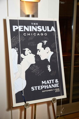 vintage-inspired-movie-poster-guest-book-alternative-at-wedding-cocktail-hour