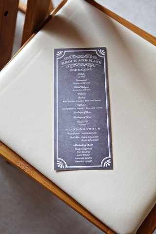 wedding-ceremony-program-in-slate-grey-with-white-type