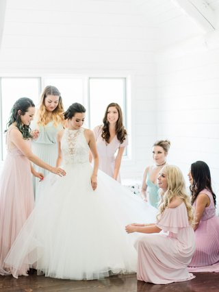 megan-nicole-youtube-singer-on-wedding-day-maggie-sottero-wedding-dress-bridesmaids-helping