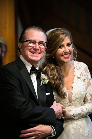bride-in-isabelle-armstrong-lace-gown-with-father-of-the-bride-in-tuxedo-and-horn-rimmed-glasses
