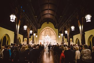 wedding-at-north-carolina-church-in-charlotte-lanterns-high-ceilings-wood
