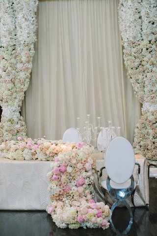 floral-curtains-and-runner-hydrangea-rose-peony-ranunculus-white-pink-modern-chair