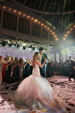 bride-in-galia-lahav-wedding-dress-from-bridal-reflections-first-dance-with-groom-new-york-library