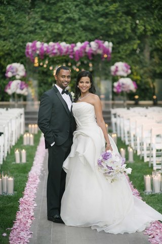 african-american-bride-in-strapless-vera-wang-wedding-dress-with-groom-in-tuxedo-at-four-seasons