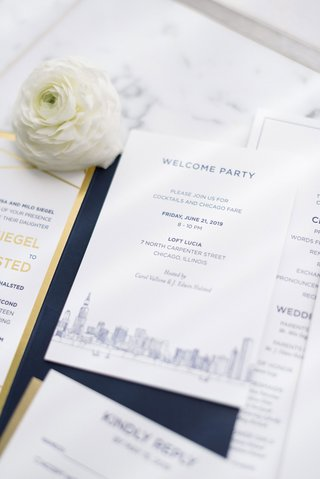 wedding-invitation-suite-navy-gold-and-white-classic-design-chicago-skyling-ranunculus-flower