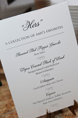 buffet-area-at-wedding-reception-hers-a-collection-of-the-brides-favorite-menu-sign-gnocchi-lamb