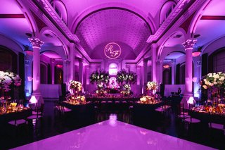 vibiana-wedding-reception-with-purple-uplighting-and-monogram-in-projected-light-at-the-top