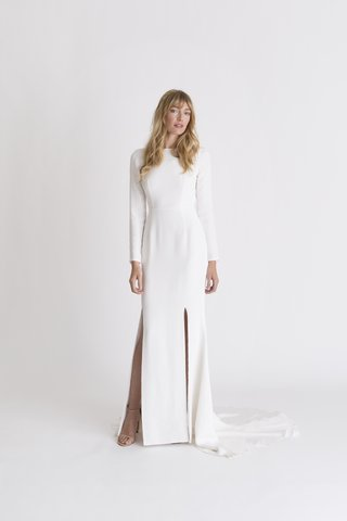 alexandra-grecco-spring-summer-2018-gemma-off-white-ivory-gown-high-neckline-long-sleeves-silk-crepe
