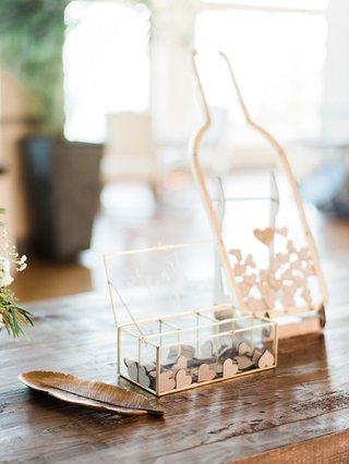 wedding-ceremony-guest-book-alternative-wine-bottle-clear-wood-heart-shape-tokens