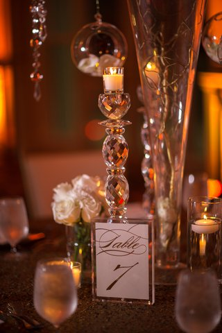 crystal-candle-holder-crystal-frame-holding-table-number-script