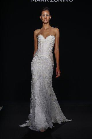 mark-zunino-for-kleinfeld-2016-strapless-flower-applique-wedding-dress