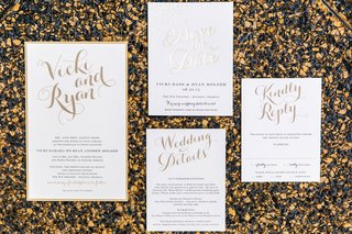 wedding-invites-with-gold-calligraphy-and-lettering