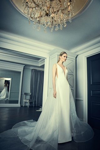 romona-keveza-fluted-crepe-gown-plunging-neckline-side-illusion-cut-out-illusion-overskirt