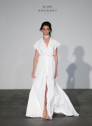 rime-arodaky-2018-bridal-collection-wedding-dress-v-neck-wrap-dress-high-slit-short-sleeves