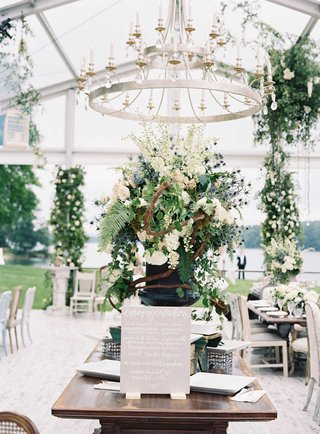 open-side-clear-tent-wedding-reception-food-buffet-stations-carving-station-wood-table-grey-sign