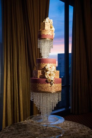 hanging-crystals-burgundy-cake-sugar-flower-decorated-cake