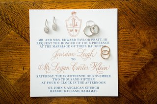 bahamas-destination-wedding-incitation-calligraphy-rose-gold-navy-blue-crest-custom-monogram