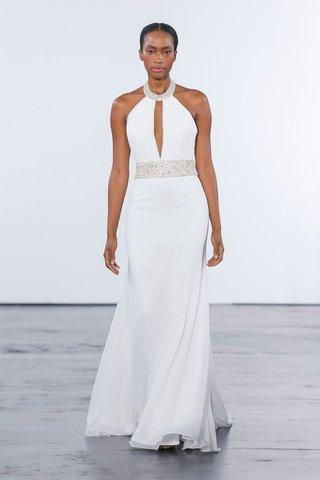 dennis-basso-for-kleinfeld-2018-collection-wedding-dress-halter-gown-sash-beading-neckline