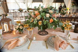 gold-rim-glassware-blush-pink-napkin-lace-gold-flatware-rustic-wedding-lantern-centerpiece-ideas